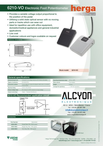 6210-VO Electronic Foot Potentiometer