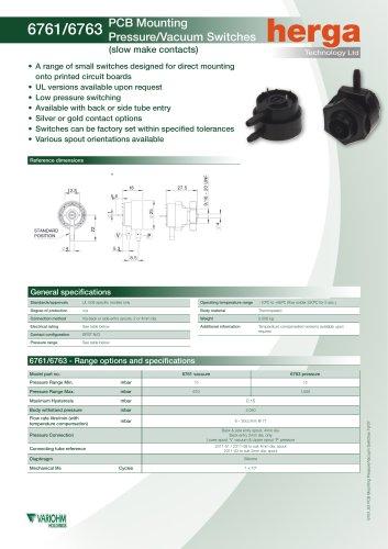 6761/6763 PCB Mounting Pressure/Vacuum Switches