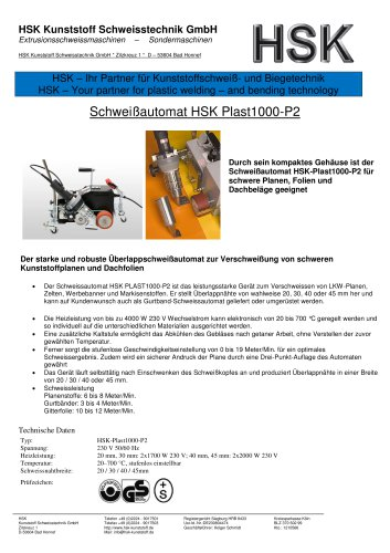 Welding automat HSK Plast1000 - P 2