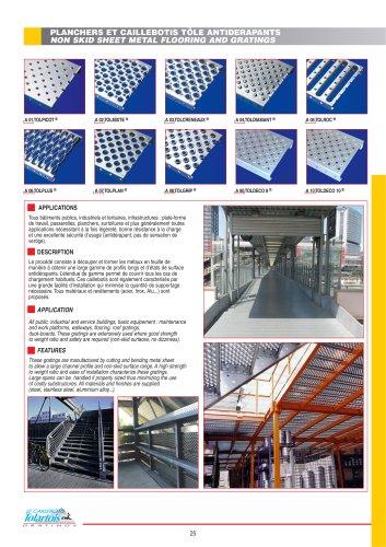 Gratings- nonskid sheet metal flooring
