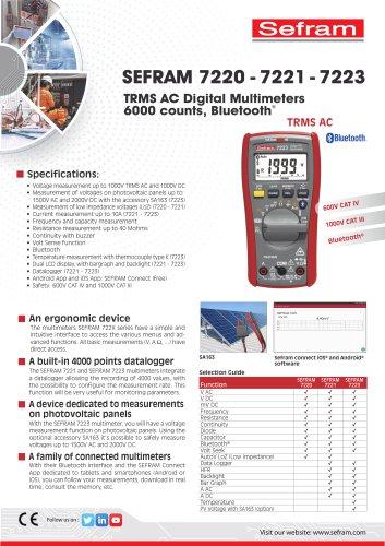 TRMS AC Digital Multimeters, 6000 counts, Bluetooth Model 7220