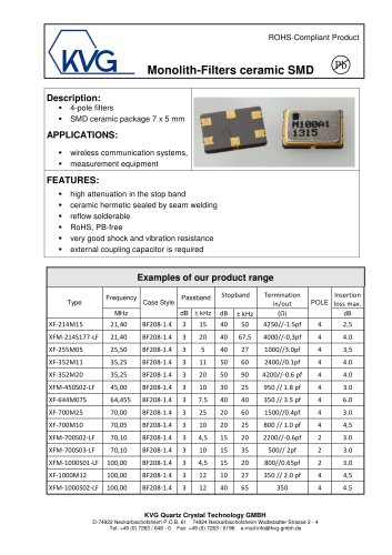 Monolith-filters ceramic SMD-package
