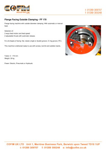 FF 170 Flange Facing Outside Clamping