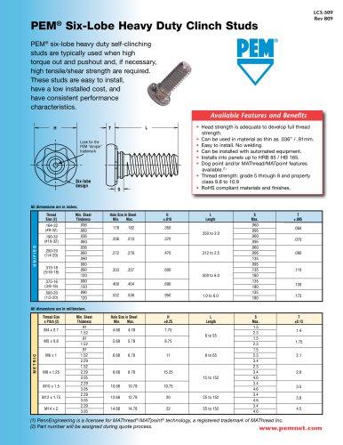 PEM® Six-Lobe Heavy Duty Clinch Studs