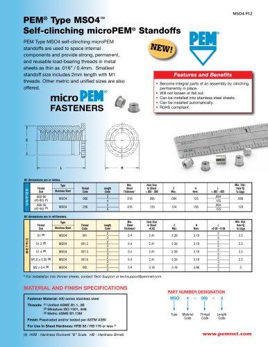 PEM Type MSO4? Self-Clinching Micro Standoffs