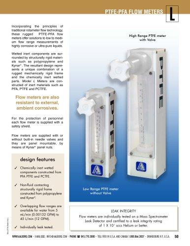 PTFE-PFA flow meters