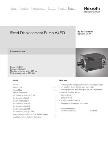 Fixed Displacement Pump A4FO, for open circuits