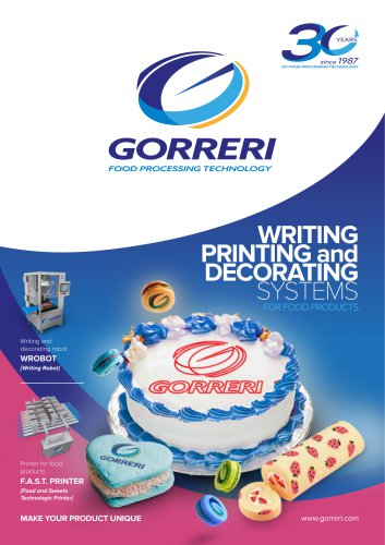 WRITING PRINTING and DECORATING SYSTEMS FOR FOOD PRODUCTS